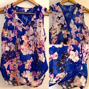 [Candie's] Blue Floral and Lace Tank